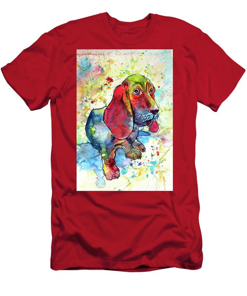 Men's T-Shirt (Slim Fit) featuring the painting Cute Basset Hound by Kovacs Anna Brigitta