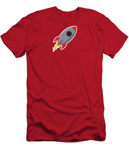 Cute Gray Rocket Ship Men's T-Shirt (Athletic Fit)