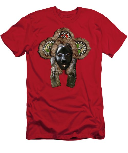 Dan Dean-gle Mask Of The Ivory Coast And Liberia On Red Leather Men's T-Shirt (Athletic Fit)