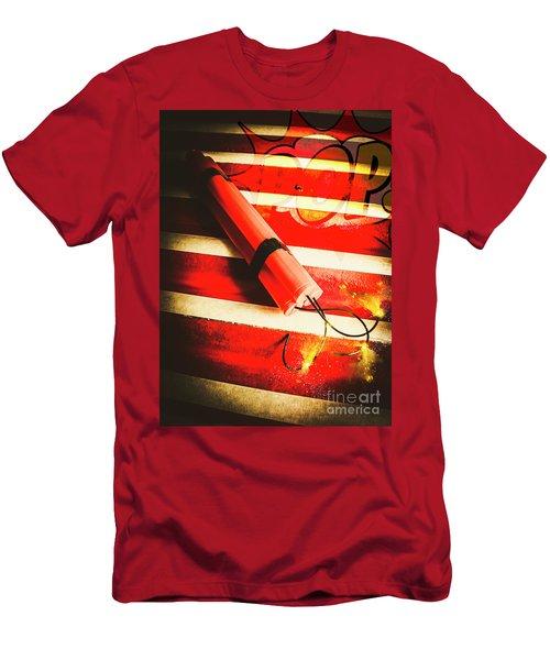 Danger Bomb Background Men's T-Shirt (Athletic Fit)