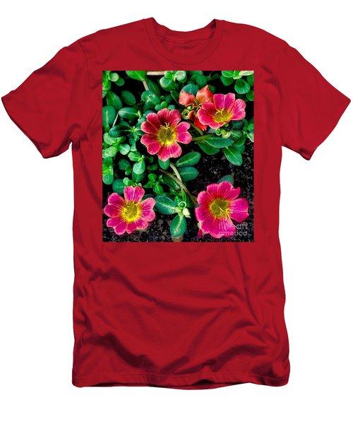 Dark Pink Purselane Flowers Men's T-Shirt (Athletic Fit)