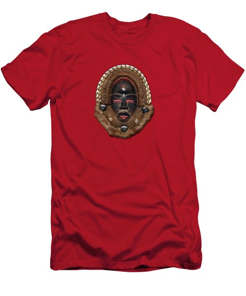 Dean Gle Mask By Dan People Of The Ivory Coast And Liberia On Red Leather Men's T-Shirt (Athletic Fit)