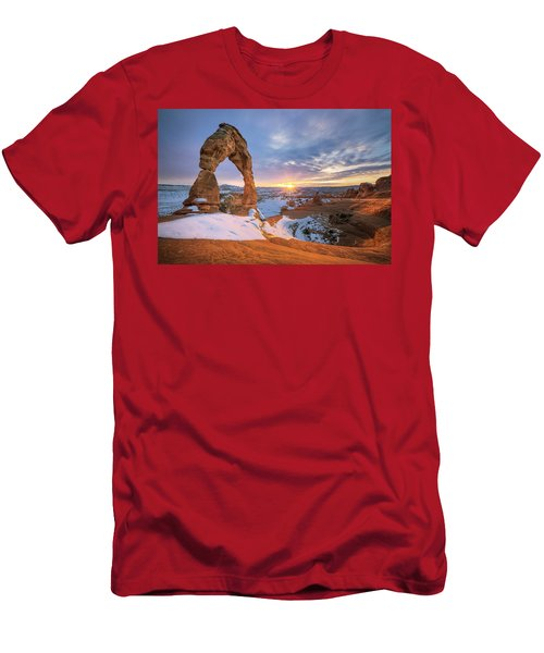 Delicate Arch Winter Men's T-Shirt (Athletic Fit)