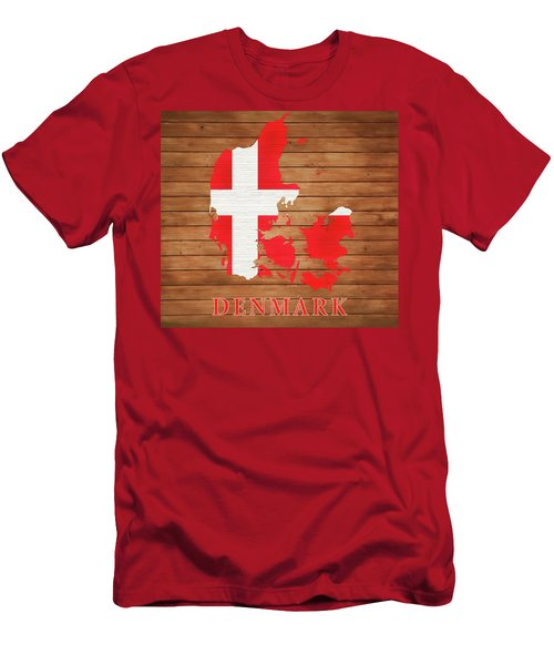Denmark Rustic Map On Wood Men's T-Shirt (Athletic Fit)