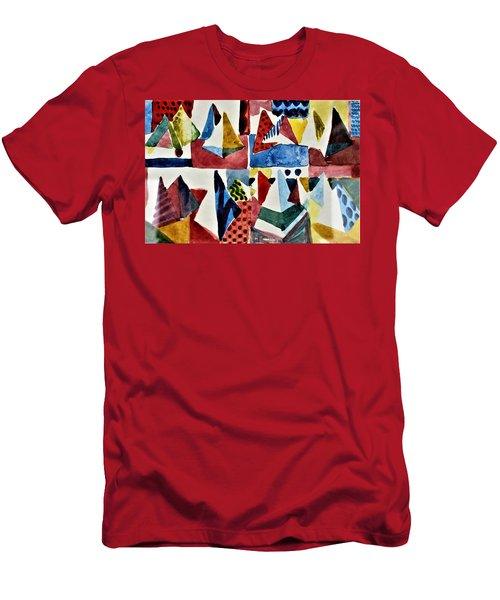 Men's T-Shirt (Slim Fit) featuring the painting Designs For Pyramids by Mindy Newman