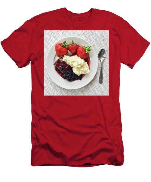 Dessert With Strawberries And Whipped Cream Men's T-Shirt (Slim Fit) by GoodMood Art
