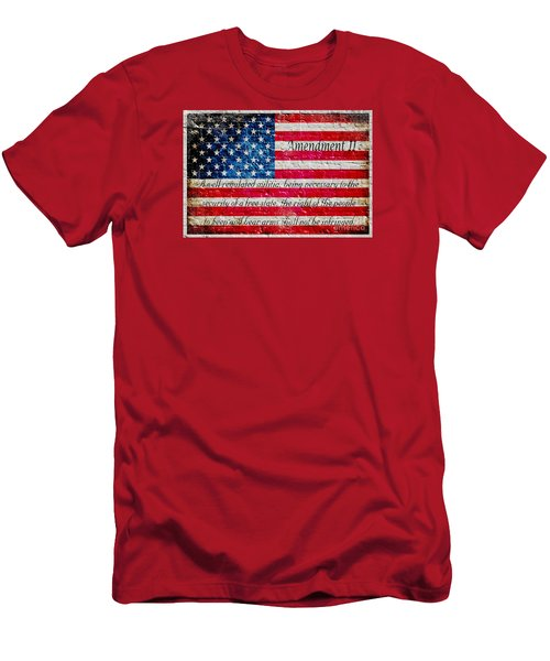 Distressed American Flag And Second Amendment On White Bricks Wall Men's T-Shirt (Slim Fit) by M L C