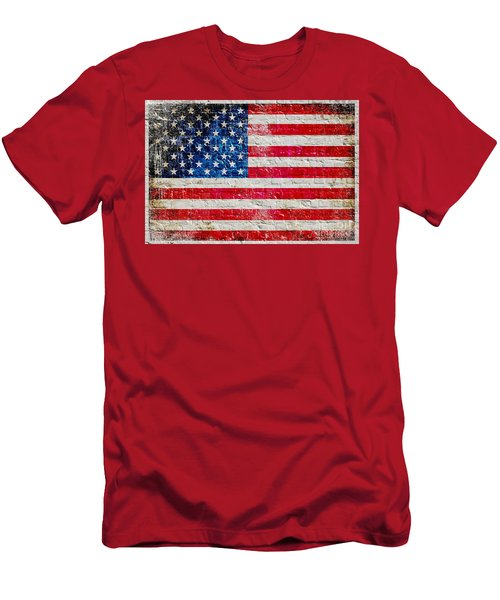 Distressed American Flag On Old Brick Wall - Horizontal Men's T-Shirt (Slim Fit) by M L C