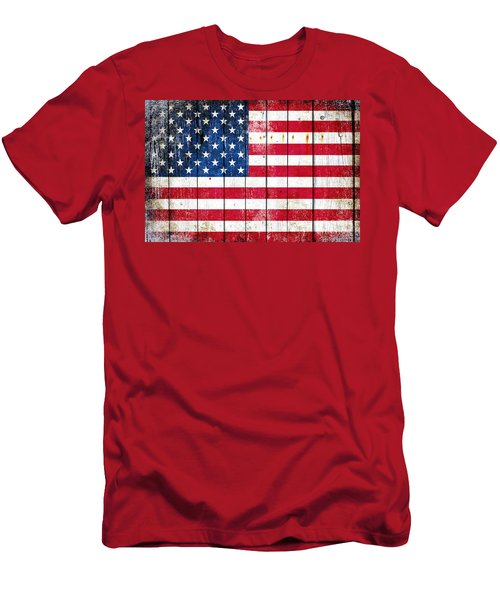 Distressed American Flag On Wood Planks - Horizontal Men's T-Shirt (Slim Fit) by M L C