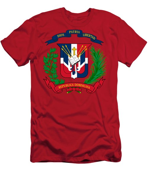Dominican Republic Coat Of Arms Men's T-Shirt (Slim Fit) by Movie Poster Prints