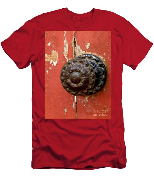 Door Knob On Red Door Men's T-Shirt (Athletic Fit)