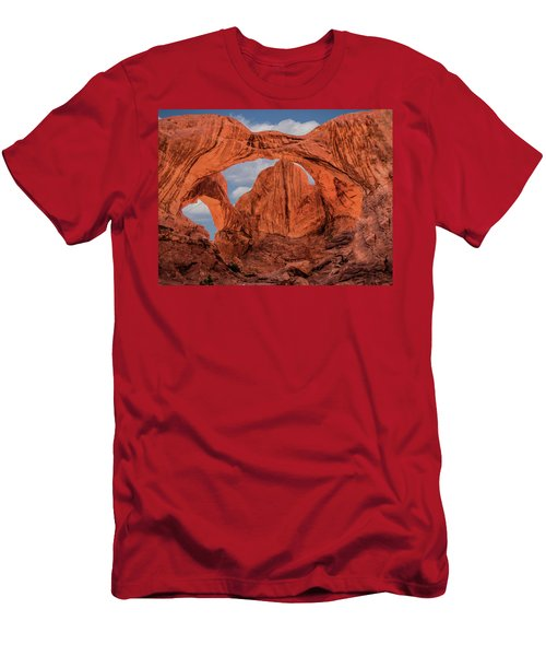 Double Arches At Arches National Park Men's T-Shirt (Slim Fit) by Penny Lisowski