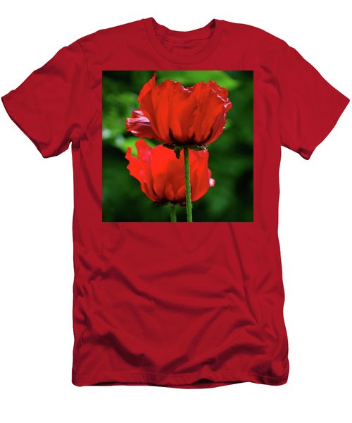 Double Red Poppies Men's T-Shirt (Athletic Fit)