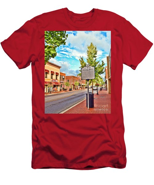Downtown Blacksburg With Historical Marker Men's T-Shirt (Slim Fit) by Kerri Farley
