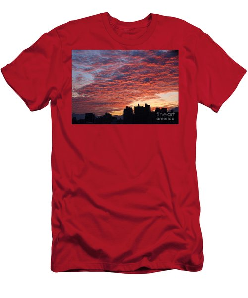 Men's T-Shirt (Slim Fit) featuring the photograph Dramatic City Sunrise by Yali Shi
