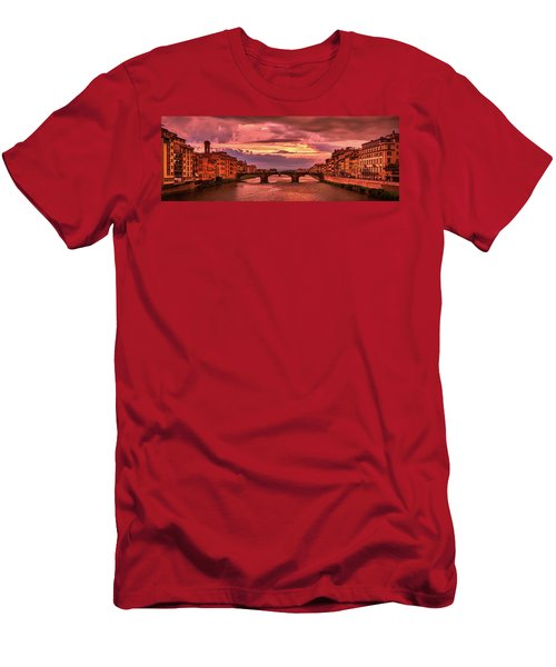Saint Trinity Bridge From Ponte Vecchio At Red Sunset In Florence, Italy Men's T-Shirt (Athletic Fit)