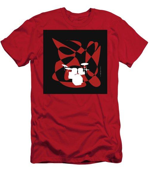 Drums In Black Strife Men's T-Shirt (Slim Fit) by David Bridburg