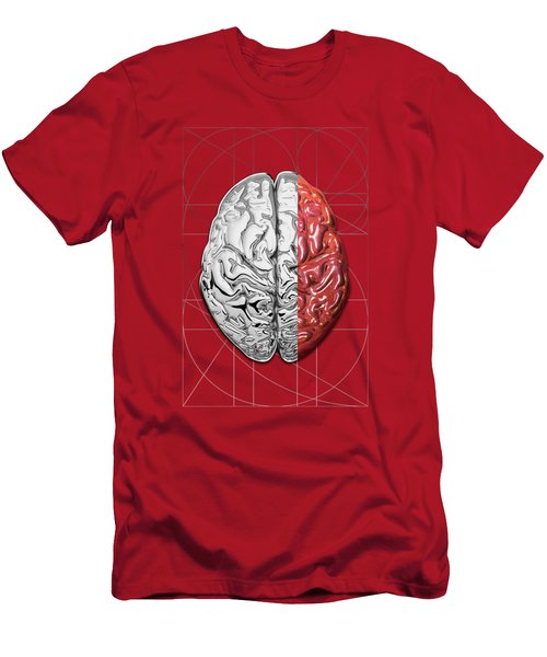 Dualities - Half-silver Human Brain On Red And Black Canvas Men's T-Shirt (Athletic Fit)
