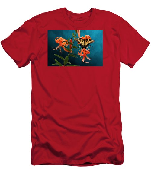 Eastern Tiger Swallowtail Butterfly On Orange Tiger Lily Men's T-Shirt (Athletic Fit)