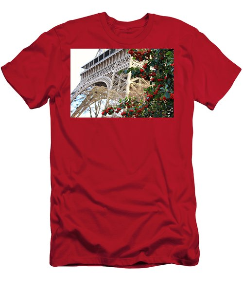 Eiffel Tower In Winter Men's T-Shirt (Slim Fit) by Katie Wing Vigil