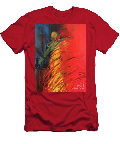 Men's T-Shirt (Slim Fit) featuring the painting Eight Of Swords by Daun Soden-Greene