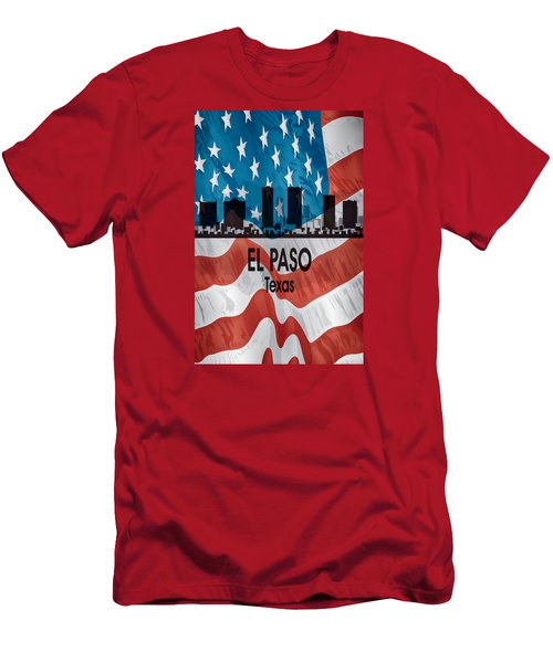 El Paso Tx American Flag Vertical Men's T-Shirt (Slim Fit) by Angelina Vick