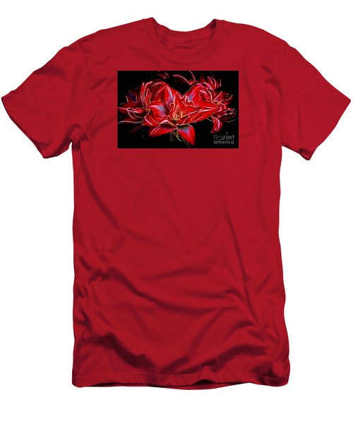 Men's T-Shirt (Slim Fit) featuring the photograph Electric Amaryillis by Darleen Stry