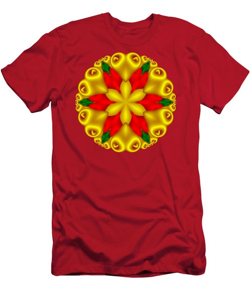 Elegant Christmas Poinsettia With Hearts  Men's T-Shirt (Athletic Fit)