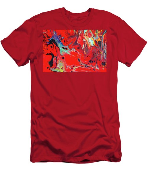 Emotional Soul - Red Abstract Canvas Painting Men's T-Shirt (Slim Fit) by Gordan P Junior