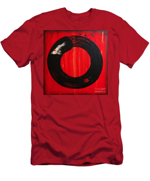 Enso With Koi Red And Gold Men's T-Shirt (Slim Fit) by Sandi Baker