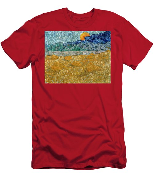 Men's T-Shirt (Athletic Fit) featuring the painting Evening Landscape With Rising Moon by Van Gogh