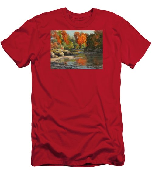 Men's T-Shirt (Slim Fit) featuring the painting Fall Reflections by Karen Ilari