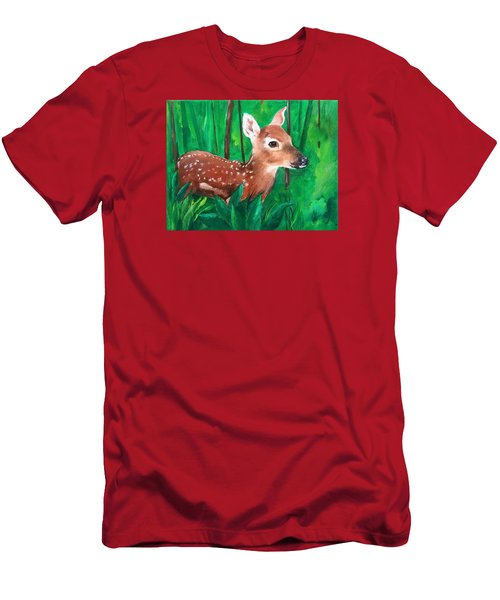 Men's T-Shirt (Slim Fit) featuring the painting Fawn by Ellen Canfield