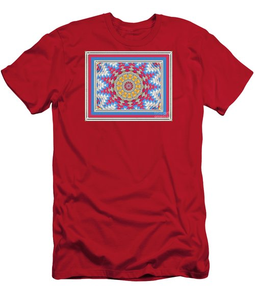 Men's T-Shirt (Slim Fit) featuring the photograph Feathered Star Quilt by Shirley Moravec