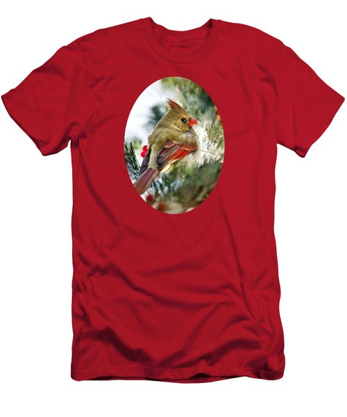 Female Northern Cardinal Men's T-Shirt (Slim Fit) by Christina Rollo