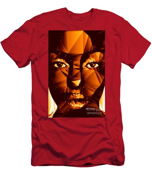 Men's T-Shirt (Athletic Fit) featuring the digital art Female Portrait In Brown by Rafael Salazar