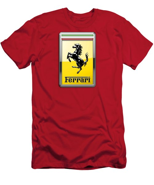Ferrari 3d Badge-hood Ornament On Red Men's T-Shirt (Slim Fit) by Serge Averbukh