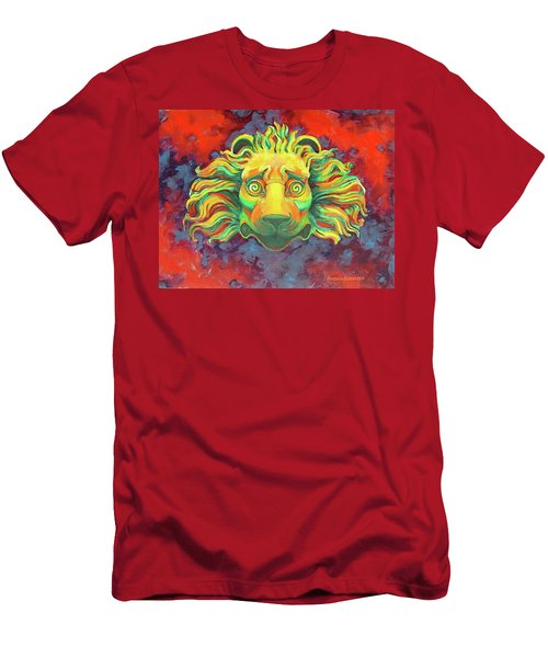 Men's T-Shirt (Slim Fit) featuring the painting Fidardo's Lion by Andrew Danielsen