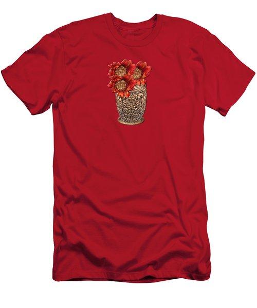 Fire Brick Flora Vase Men's T-Shirt (Athletic Fit)