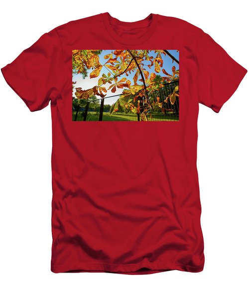 Men's T-Shirt (Athletic Fit) featuring the photograph Fire Leaves by Tgchan