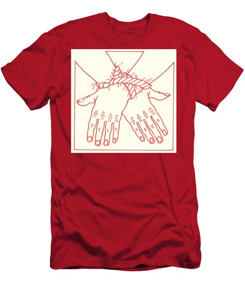 Men's T-Shirt (Athletic Fit) featuring the drawing First Station- Jesus Is Condemned To Death  by William Hart McNichols