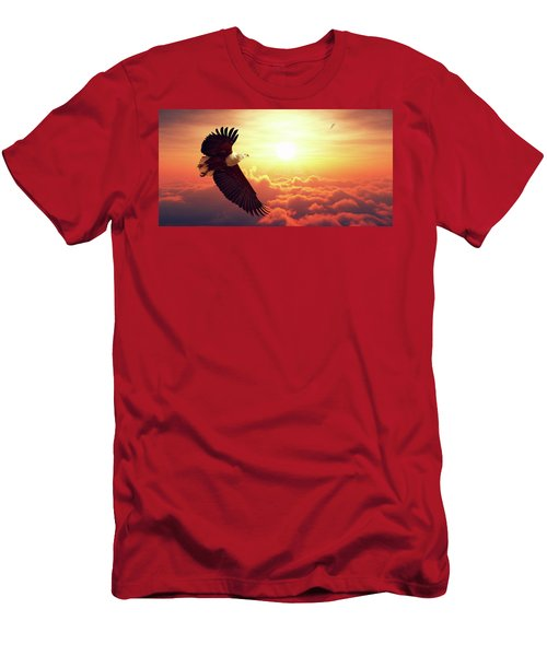 Fish Eagle Flying Above Clouds Men's T-Shirt (Athletic Fit)