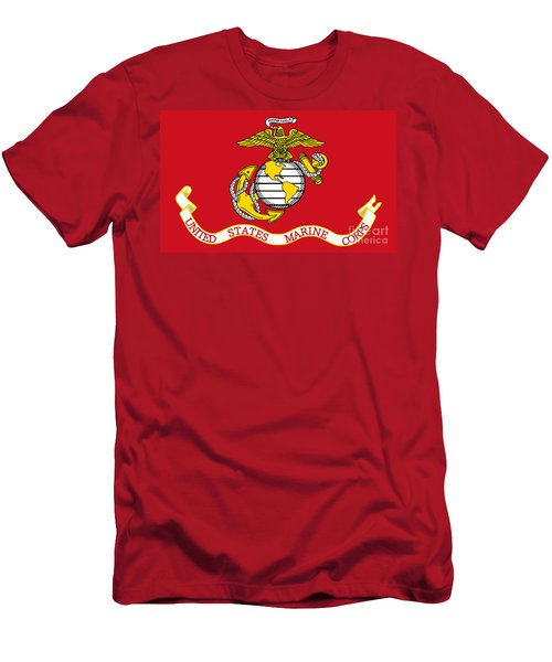 Men's T-Shirt (Slim Fit) featuring the painting Flag Of The United States Marine Corps by Pg Reproductions
