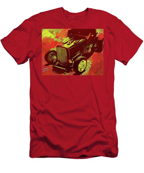 Flamed 1932 Ford Roadster Hot Rod Pop Red Men's T-Shirt (Athletic Fit)