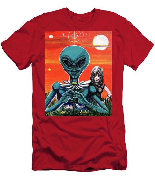 Flower. Alien. Moon Men's T-Shirt (Athletic Fit)