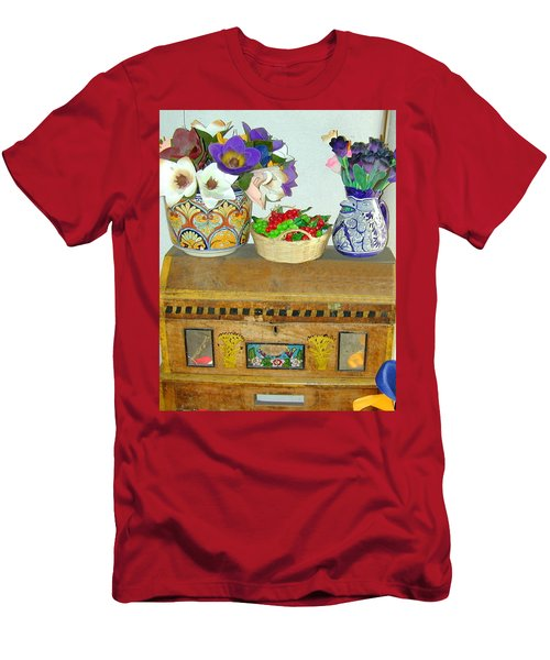 Men's T-Shirt (Athletic Fit) featuring the photograph Flowers And Antique Chest by Joseph R Luciano