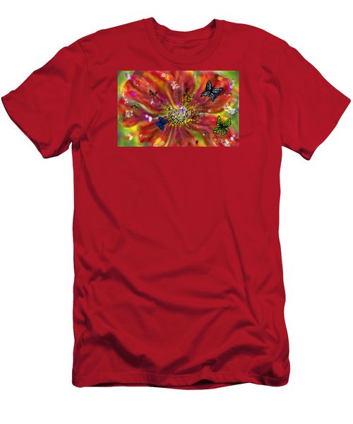 Men's T-Shirt (Athletic Fit) featuring the digital art Flowers And Butterflies by Darren Cannell