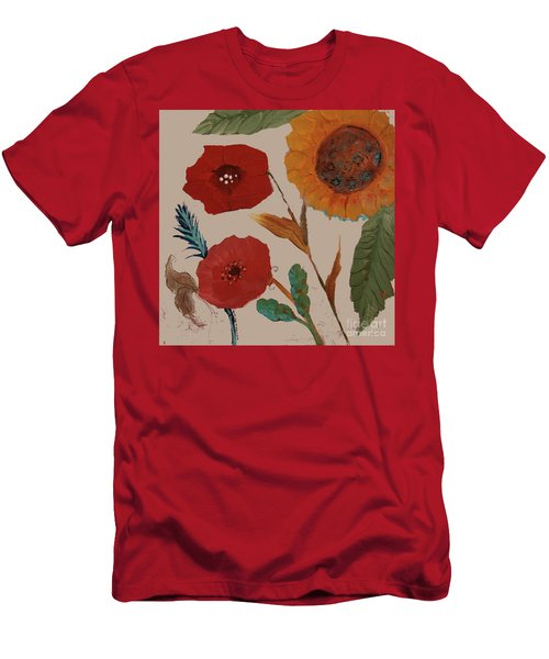 Men's T-Shirt (Athletic Fit) featuring the painting Flowers Blowing In The Wind by Robin Maria Pedrero