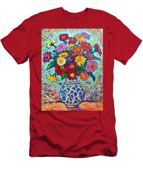 Flowers - Colorful Zinnias Bouquet Men's T-Shirt (Athletic Fit)