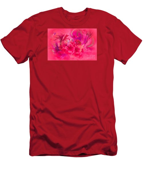 Men's T-Shirt (Slim Fit) featuring the painting Flower Art Pinky Pink  by Sherri  Of Palm Springs